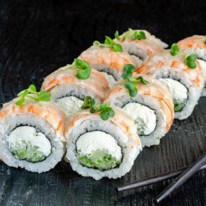 Ролл з тигровой креветкой, осьминог суши, киев